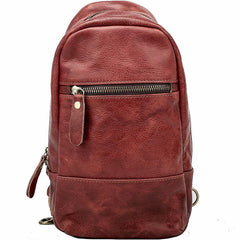 Vintage Dark Brown Leather Mens Chest Bag Red Brown Sling Bag Sling Pack For Men