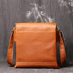 BADASS BROWN YELLOW LEATHER MEN'S 10 inches Side bag Vertical Courier Bag MESSENGER BAG FOR MEN