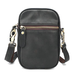 Black Leather Mens Mini Casual Side Bag Messenger Bags Brown Postman Bag For Men
