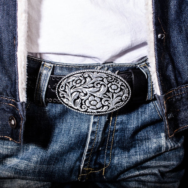 Handmade Genuine Leather Punk Rock Floral Mens Cool Men Biker Trucker Leather Belt