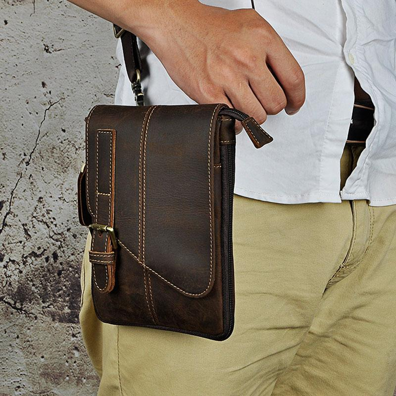 96f1cc191769 Mens Leather Small Side Bag COURIER BAGs Waist Pouch Holster Belt Case Belt  Pouch for Men