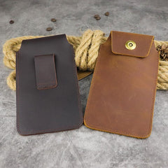 Cool Leather Men's Slim Cell Phone Holster Phone Holster Belt Bag Belt Pouch For Men