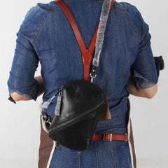 Handmade Genuine Leather Mens Cool Chest Bag Sling Bag Crossbody Bag Travel Bag Hiking Bag for men