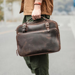 Vintage Dark Brown Mens Leather Briefcase Work Handbag Brown 15'' Computer Briefcase For Men