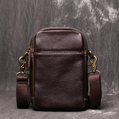 Mens Brown Leather Mini Messenger Bag Black Men's Phone Side Bag Mini Phone Bag Courier Bag For Men