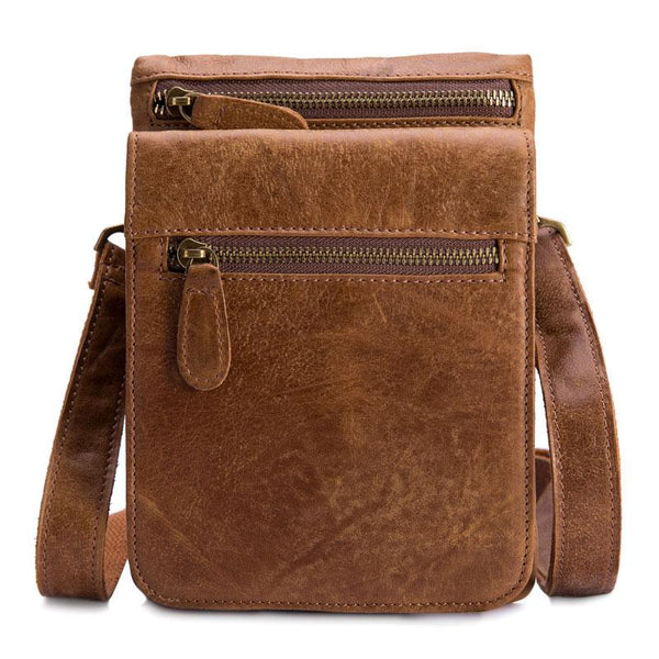 Cool Brown Leather Mens Small Shoulder Bag Belt Pouch Belt Bag For Men