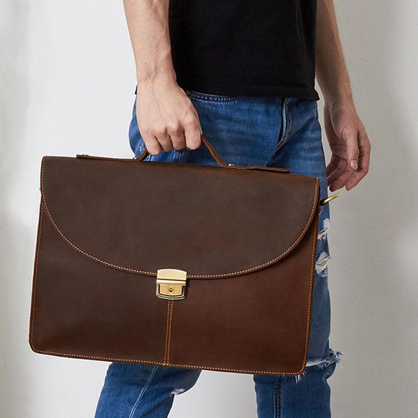 Leather Mens Vintage Briefcase 13inch laptop Handbags Shoulder Bags For Men