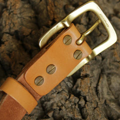 Handmade Genuine Custom Leather Mens Leather Men Beige Belt for Men