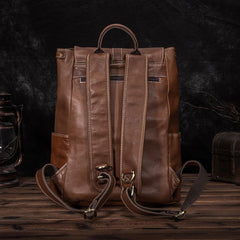 Top Brown Leather Men's Satchel Backpack Computer Backpack 14 inches School Backpack For Men