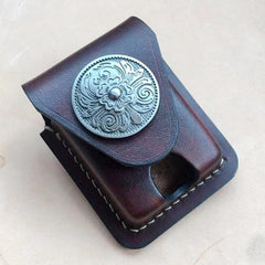 Brown Leather Classic Zippo Lighter Case Handmade Zippo Lighter Pouch with Belt Clip For Men