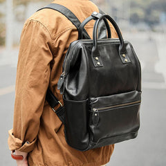 Cool Black Leather Mens Travel Backpack Work Handbag Briefcase Work Backpack For Men
