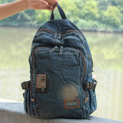 Denim Blue Mens 15 inches Backpack Laptop Backpack Jean Travel Backpacks For Men