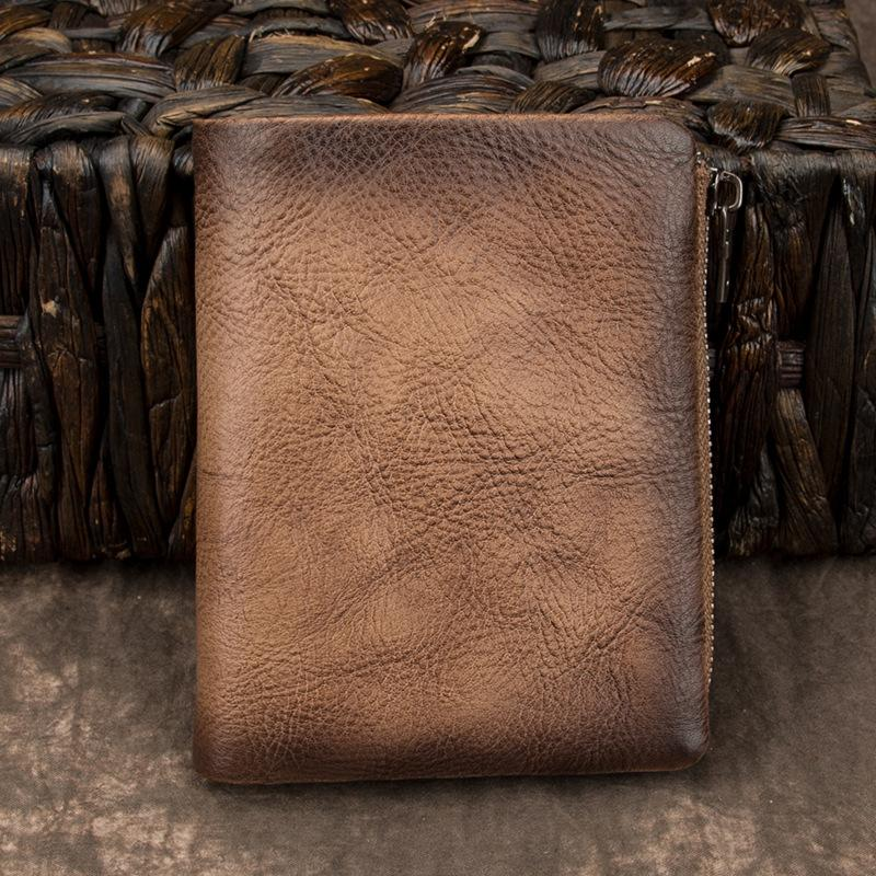 Brown Vintage Bifold Wallet Leather Mens Gray billfold Small Wallet Zipper Card Wallet For Men