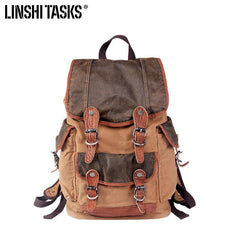 Khaki Canvas Leather Mens Large Backpack School Backpack Canvas Travel Backpack For Men