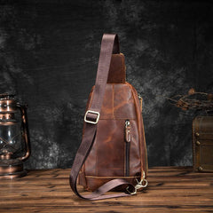 Badass Brown Leather Men's Sling Bag Chest Bag Vintage 8-inches One shoulder Backpack For Men