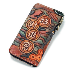 Handmade Leather Fortune Pixiu Mens Tooled Long Chain Biker Wallet Cool Leather Wallet With Chain Wallets for Men