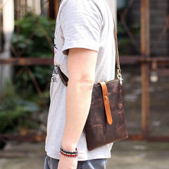 Dark Coffee Leather Mens Small Vertical Courier Bag Messenger Bags Black Small Postman Bag For Men