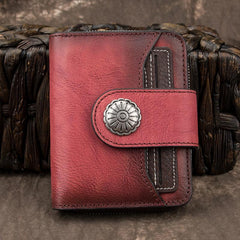 Brown Small Bifold Wallet Leather Womens billfold Small Wallet Zipper Red Card Wallet For Men