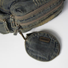 Blue Denim Mens Small Wallet Short Wallet Keychain Wallet Coin Purse For Men