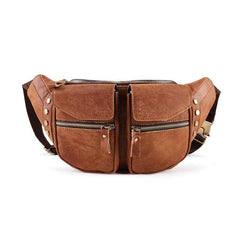 Cool Leather Fanny Pack Men's Brown Chest Bag Hip Bag Bum Bag Waist Bag For Men
