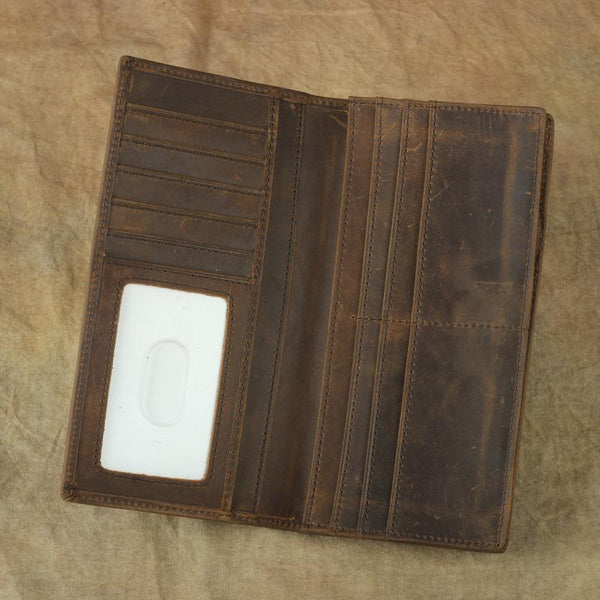 Vintage Brown Leather Men's Long Wallet Bifold Long Slim Wallet For Men
