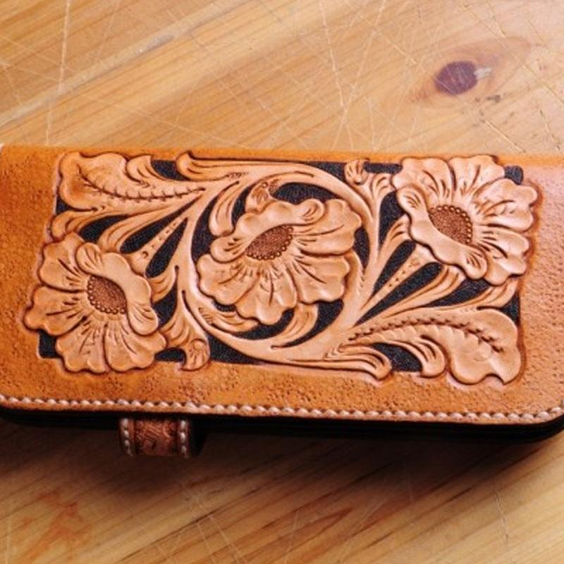 Handmade Tooled Floral Mens Leather Long Biker Wallet Cool Long Chain Wallet for Men