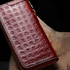 Handmade Leather Mens Chain Prajna Paramita Biker Wallet Cool Leather Wallet Long Phone Wallets for Men