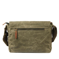 Fashion Waxed Canvas Leather Mens Army Green Side Bags Messenger Bags Khaki Casual Canvas Courier Bag for Men