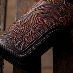 Handmade Leather Carp Mens Long Chain Biker Wallet Tooled Leather Wallets With Chain Wallets for Men