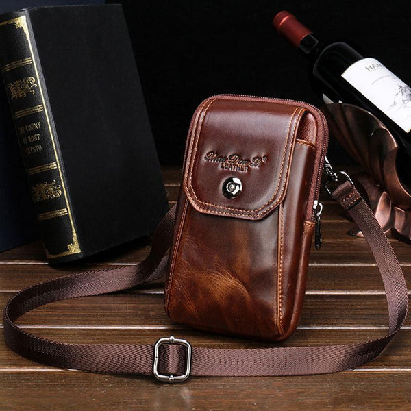 Cool Leather Mens Vintage Small Side Bag Belt Pouch Belt Bag For Men