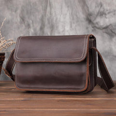 Brown Cool Leather Small Messenger Bag Satchel Postman Bag Coffee Side Bag Courier Bag For Men