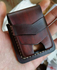 Handmade Black Leather Classic Zippo Lighter Pouch Standard Zippo Lighter Holder with Belt Loop For Men