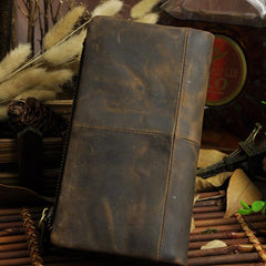 Cool Leather Mens Long Wallet Vintage Leather Long Wallet for Men