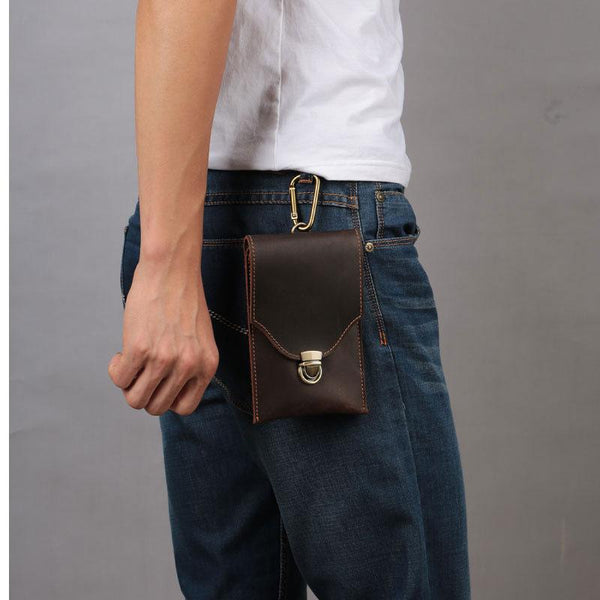 Cool Dark Brown Leather Mens Belt Pouch Mini Waist Bag Belt Bags For Men