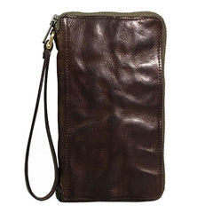Vintage Green Leather Mens Bifold Long Wallet Brown Wristlet Wallet Brown Clutch Biker Wallet Men
