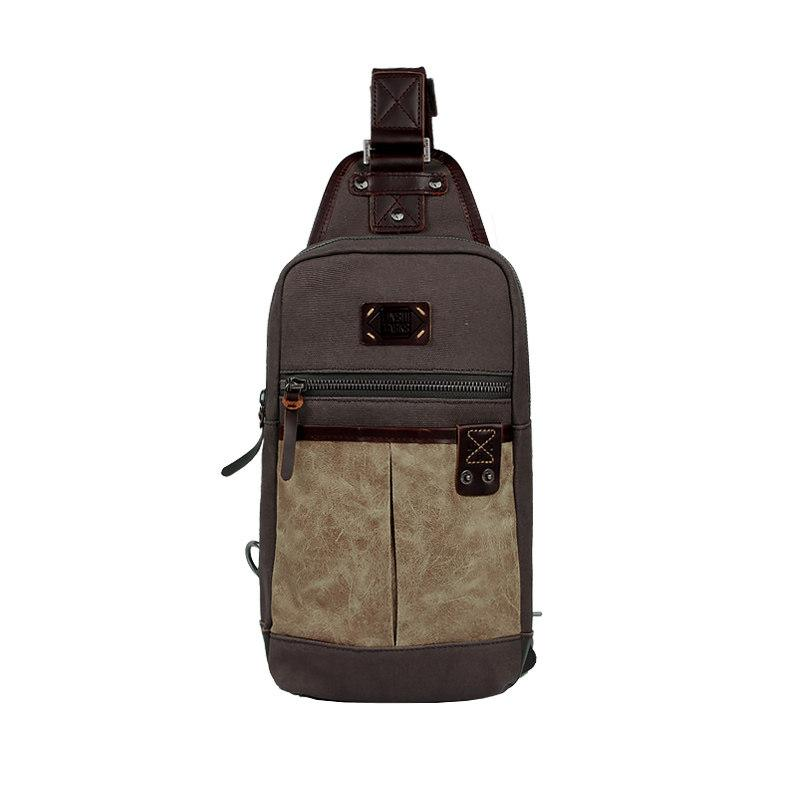 Black Canvas Leather Sling Backpack Men's Sling Bag Chest Bag Dark Coffee Canvas One shoulder Backpack For Men