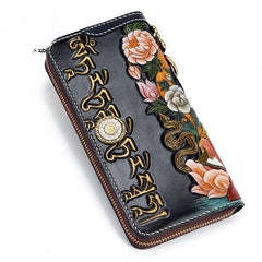 Handmade Leather Green Tara Buddhism Mens Tooled Long Biker Wallet Cool Leather Wallet With Chain Wallets for Men
