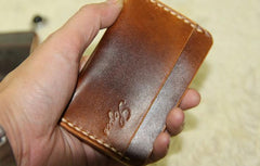 Handmade Leather Mens Slim Front Pocket Wallets Leather Card Wallet for Men