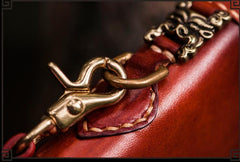 Handmade Leather Tibetan Mens Biker Chain Wallets Cool Leather Chain Wallet Long Biker Wallets for Men