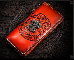 Handmade Leather Tibetan Mens Biker Wallet Cool Leather Biker Wallet Long Chain Wallets for Men