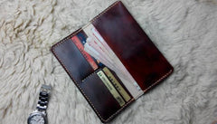 Vintage Leather Bifold Mens Long Wallet Leather Long Wallets for Men
