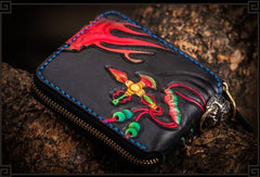 Handmade Leather Chinese Lion Tooled Mens Short Wallet Cool Chain Wallet Biker Wallet for Men