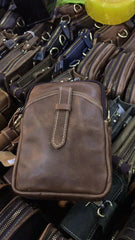 Mens Brown Leather Cell Phone Holster Belt Case Belt Pouch Small Side Bag for Men