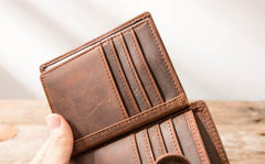 Cool Leather Mens Small Wallets Bifold Vintage Slim Short Wallet for Men