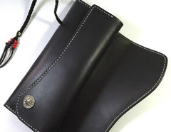 Handmade Leather Mens Clutch Wallet Cool Wallet Long Wallets for Men Women