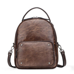 Brown Cool LEATHER Womens Small Red Backpack Mini College Backpack For Women