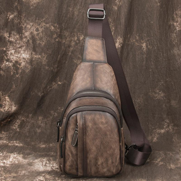 Brown Cool LEATHER MENS Sling Bag 8 inches Small Gray One Shoulder Backpack Chest Bag For Men