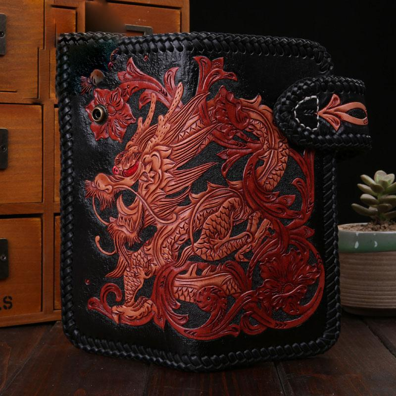 643df28b02 Handmade Mens Cool Tooled Long Chinese Dragon Leather Chain Wallet Biker  Trucker Wallet with Chain