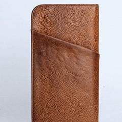 Handmade Leather Mens Cool Long Leather Wallet Zipper Phone Clutch Wallet