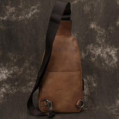 Blue Leather Mens Sling Bag Sling Backpack Brown Chest Bag Sling Shoulder Bag Sling Pack For Men
